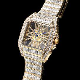 Reloj Cuadrado Hueco Completo de Talla Baguette de Oro