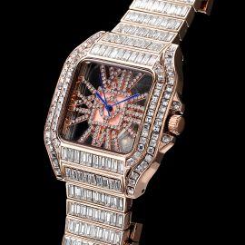 Reloj Hueco Cuadrado de Talla Baguette Completa de Oro Rosa