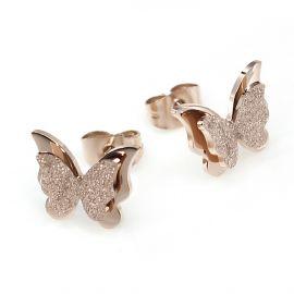 Pendientes de Mariposa Doble Esmerilado de Oro Rosa para Mujer