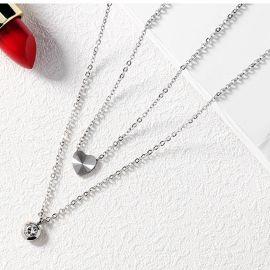 Colgante Collar de Acero de Titanio con Doble Corazón con Incrustaciones de Diamantes para Mujer