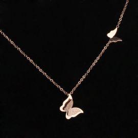 Colgante Collar de Mariposa de Oro Rosa de Acero Titanio para Mujer