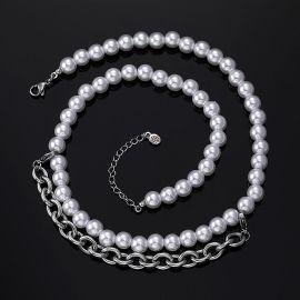 8mm Collar de Perlas con Cadena Tipo Cable