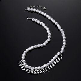 8mm Collar de Perlas con Cadena Cubana