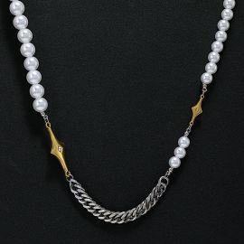 Collar Cubana de Perlas de Estrella de Cuatro Puntas con Diamantes