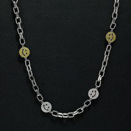 Collar de Cable con Cara de Sonrisa con Diamantes