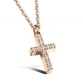Colgante Retro de Diamantes con Cruz para Mujer