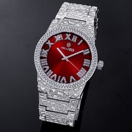 Reloj con Números Romanos con Esfera Roja de Estilo Pepita con Diamantes de Plata
