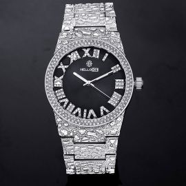 Reloj con Números Romanos con Esfera Negra de Estilo Pepita con Diamantes de Plata