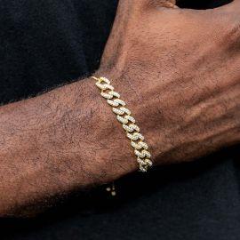 Pulsera de Cadena Cubana Ajustable con Diamantes de Oro