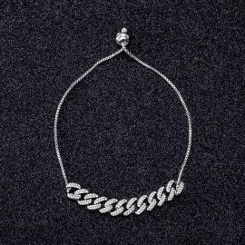 Adjustable Iced Cuban Chain Bracelet in White Gold