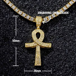 Juego de Colgante Ankh Superpuesto con Diamantes y Cadena de Tenis de Oro