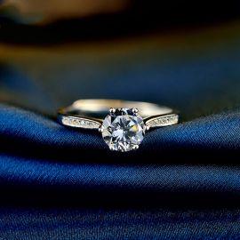 Anillo de Compromiso de Plata con Diamantes