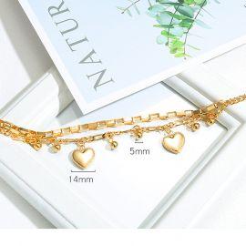 Pulsera de Acero de Titanio Multicapa con Corazón de Amor y Cuentas Redondas para Mujer de Oro