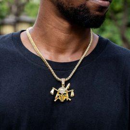 Colgante Pirata con Diamantes con Cadena de Tenis de Oro