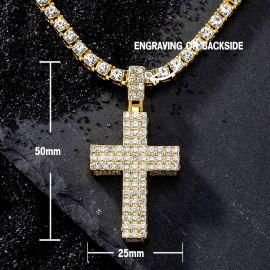 Juego de Colgante de Cruz Gruesa con Diamantes con Cadena de Tenis de Oro