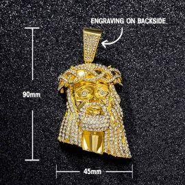 Juego de Colgante Grande de Jesús con Diamantes con Cadena Cubana con Diamantes de Oro