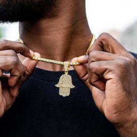 Juego de Colgante Hamsa con Diamantes con Cadena de Tenis de Oro
