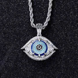 Colgante de Talismán de Ojo Malvado Griego con Diamantes de Plata
