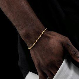3mm Pulsera de Cuerda de Oro