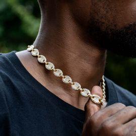 12mm Cadena de Granos de Café con Diamantes de Oro