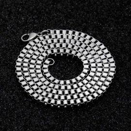 3mm Cadena de Caja Cuadrada de Plata