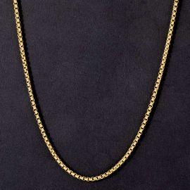 3mm Cadena de Caja Redonda de Oro