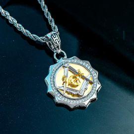 Colgante Masónico Bicolor con Diamantes