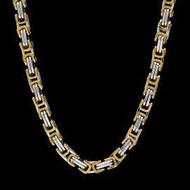 8 mm Cadena Bizantina de Acero Titanio de Oro y Plata