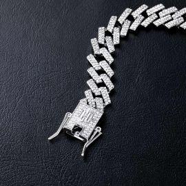 14mm Pulsera Cubana con Diamantes de Dientes de Plata