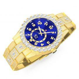 Reloj con Números Arábigos y Esfera Azul de Oro con Diamantes para Hombre