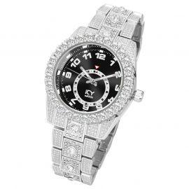 Reloj con Números Arábigos y Esfera Negra de Plata con Diamantes para Hombre