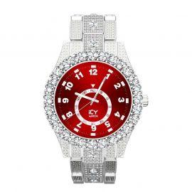 Reloj con Números Arábigos y Esfera Roja de Plata con Diamantes para Hombre