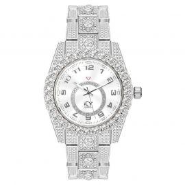 Reloj con Números Arábigos de Plata con Diamantes para Hombre