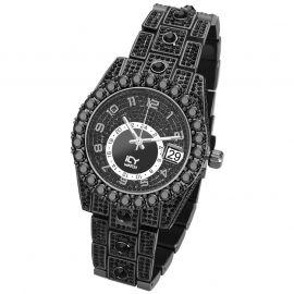 Reloj con Números Árabes de Corte Redondo de Oro Negro con Diamantes para Hombre