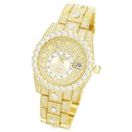 Reloj con Números Árabes de Corte Redondo de Oro con Diamantes para Hombre