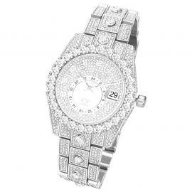 Reloj con Números Árabes de Corte Redondo de Plata con Diamantes para Hombre