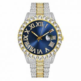 Reloj con Números Romanos en Dos Tonos y Esfera Azul con Diamantes para Hombre