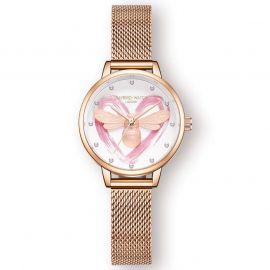 Reloj Abeja Corazón de Oro Rosa para Mujer