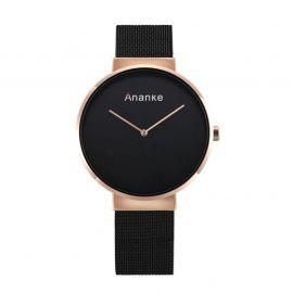 36mm Reloj con Esfera Negra de Malla para Mujer