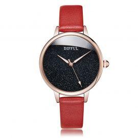 Reloj con Esfera Minimalista y Correa de Piel Roja para Mujer