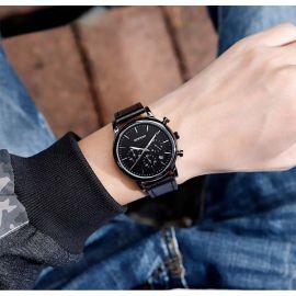 42mm Reloj Cronógrafo con Correa de Piel Negra para Hombre