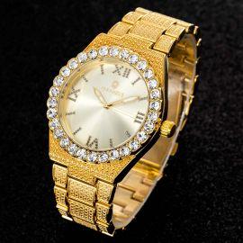43mm Reloj con Números Romanos con Diamantes de Talla Redonda de Oro para Hombre