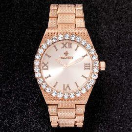 43mm Reloj con Números Romanos con Diamantes de Talla Redonda de Oro Rosa para Hombre