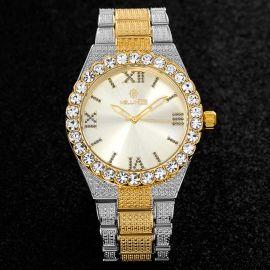 43mm Reloj con Números Romanos con Diamantes de Talla Redonda de Dos Tonos para Hombre