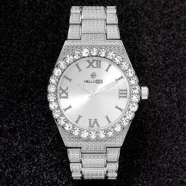 43mm Reloj con Números Romanos con Diamantes de Talla Redonda de Plata para Hombre