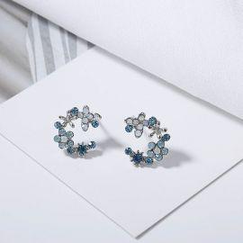 Pendientes de Pétalo Azul con Diamantes
