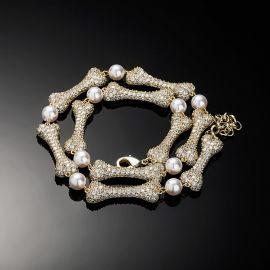 Collar de Perlas Entrelazadas de Hueso Pavimentado de Mircro