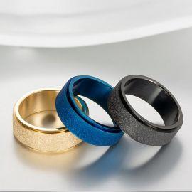Anillo Banda Simple de Acero Esmerilado Azul para Hombre