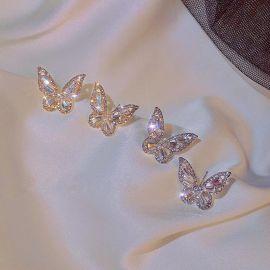 Pendientes de Mariposa con Diamantes de Imitación con Aguja de Plata Esterlina S925