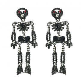 Pendientes de Esqueleto de Aleación con Diamantes
